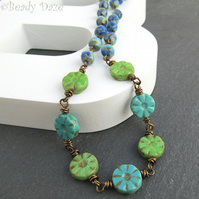 Giverny Daze necklace Czech picasso beads