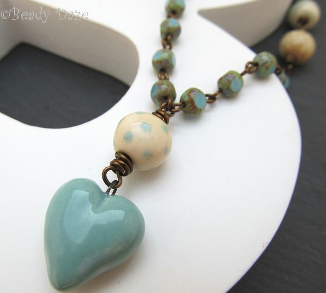 Ceramic love heart necklace