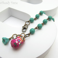 Babushka Daze bracelet Russian doll charm, Czech bead and brass