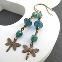 Damselfly Daze earrings Czech glass beads Vintaj brass