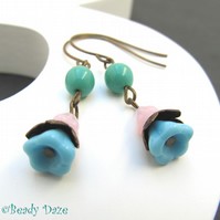 Tea Dance Daze Vintaj brass and Czech bead earrings