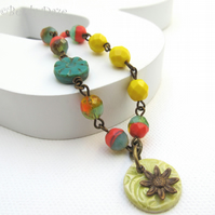 Sunflower Daze bracelet Czech bead and Vintaj brass