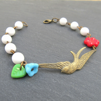 Swooping Daze whimsical swallow bracelet