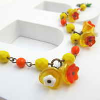 Sale! Daffodil flower beaded bracelet