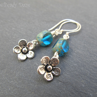 Azure Daze earrings. Sterling silver, Czech beads