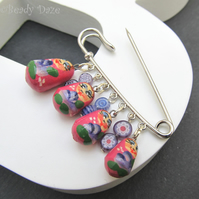 Russian doll charm brooch, Mother's Day gift