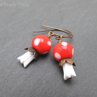 Lampwork bead earrings, toadstools