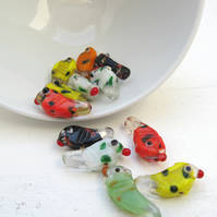 Indian glass bird beads de-stash
