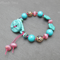 Starfish ceramic button surf bracelet