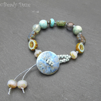 Ceramic button beaded bracelet
