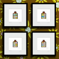 Tenement Ends, single. Framed set of four.