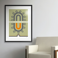 Glasgow District Subway V2 - Large. Framed.