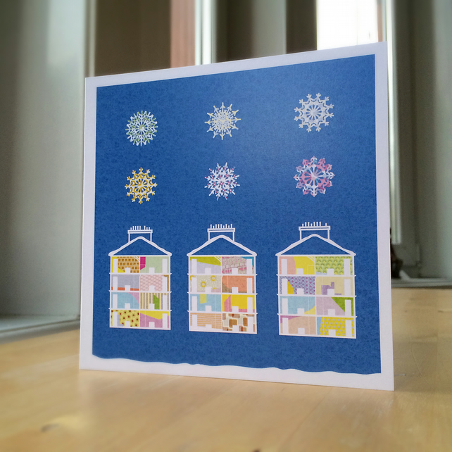 Snowflakes and Tenements - set of 12 cards