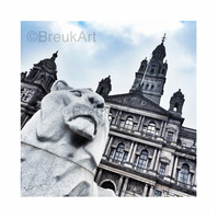 George Square Lion, Glasgow. Mounted.