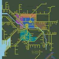 Rail Network, Glasgow and West. Large Giclee print