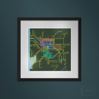 Rail Network, Glasgow and West. Large framed.