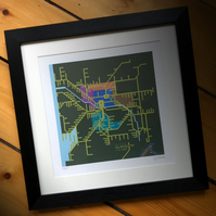 Rail Network, Glasgow and West. Framed.