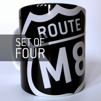 'Route M8' Set of four Mugs.