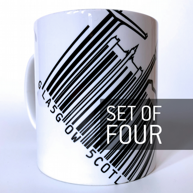 'Barcode Glasgow' Set of four Mugs.