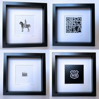 Set of four frames: QR, M8, Barcode Glasgow & Chocolate Cone