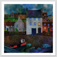 Dusk, Crail Harbour. Large Giclee print.