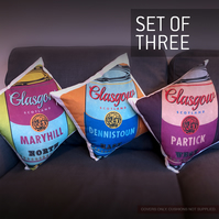 Glasgow Soup, set of 3 cushion covers