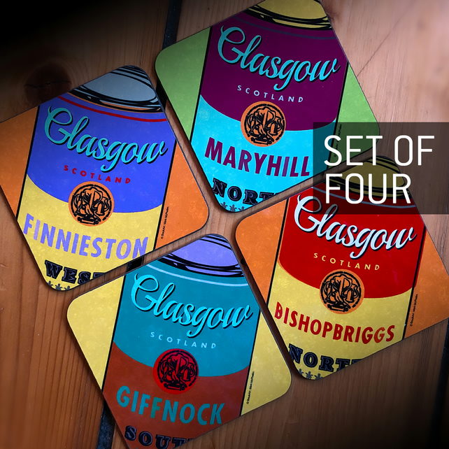 Glasgow Soup, set of 4 coasters