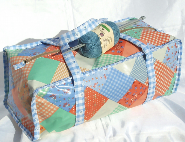 Craft knitting bag in blue and orange patchwork... - Folksy