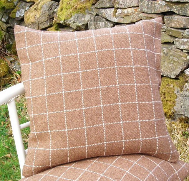 Manx Loaghtan cushion cover British rare breed sheep woven brown wool pillow