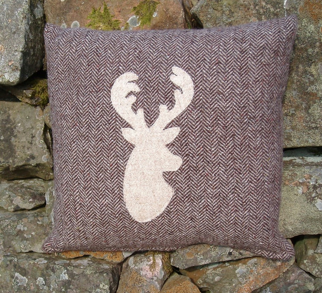 Harris Tweed cushion with stag's head applique ... - Folksy on crochet pillow ideas, fall pillow ideas, wuilted pillow ideas, sewing pillow ideas, needle felted pillow ideas, chenille pillow ideas, patchwork pillow ideas, diy pillow ideas, trapunto pillow ideas, easter pillow ideas, christmas pillow ideas, button pillow ideas, handmade pillow ideas,