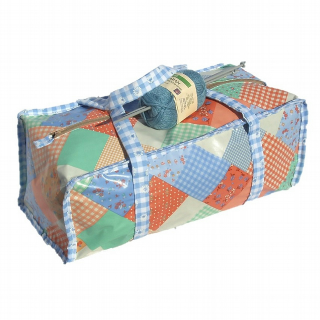 Craft knitting bag in blue and orange patchwork pattern vinyl project bag