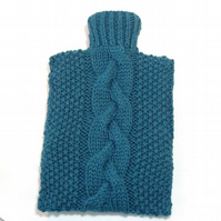 Hot water bottle cover hand knitted pure British wool deep turquoise blue