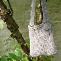 British Herdwick wool grey shoulderbag chunky knit bag