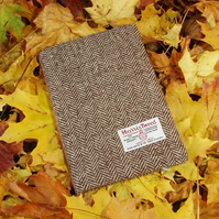 Harris tweed A5 book cover diary notebook brown herringbone