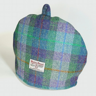 Harris Tweed tea cosy, green and purple teapot cover fabric tea cozy.