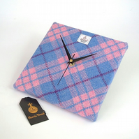 Harris Tweed clock pink blue check handwoven British wool fabric square clock