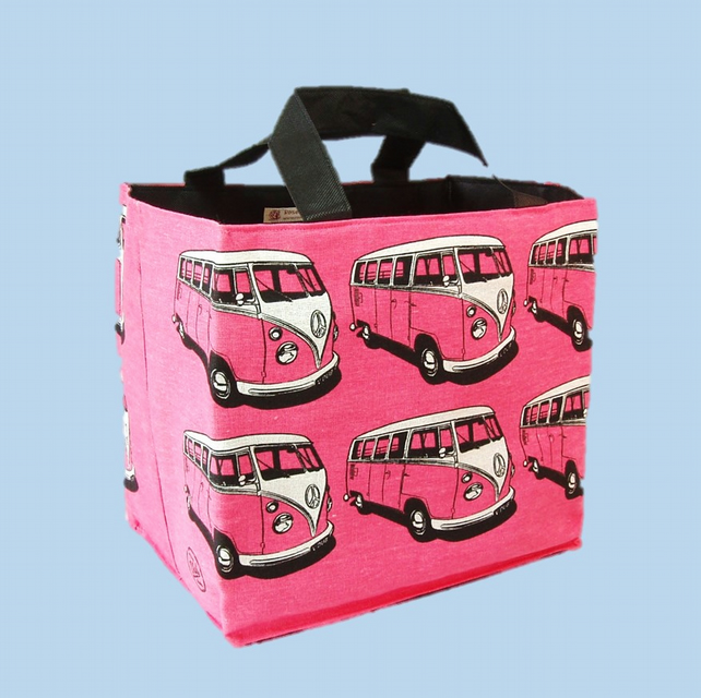 SALE  camper shopping tote black print on pink cotton. Lunch bag, beach bag.