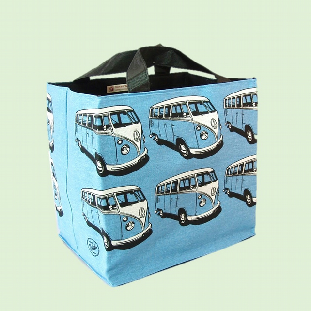 Blue beach bag campervan black print on blue cotton. Shopping tote lunch bag