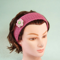 Headband pink ladies hairband handknit pure British wool with crochet flower.
