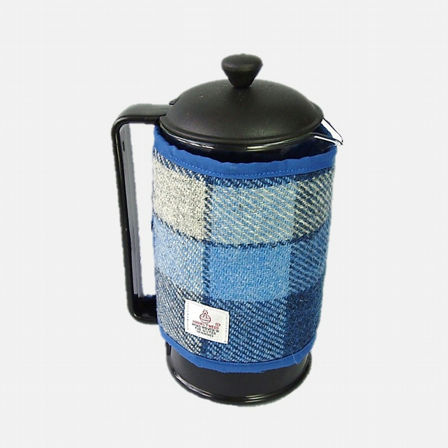 Harris Tweed cafetiere cover, coffee cosy, blue and white wool fabric cozy