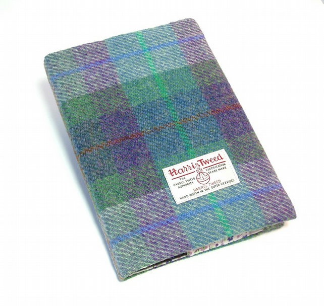 Harris tweed covered A5 notebook journal green and purple