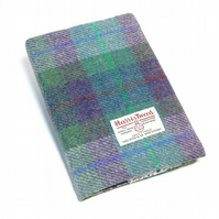 Harris tweed covered A5 notebook journal green and purple diary