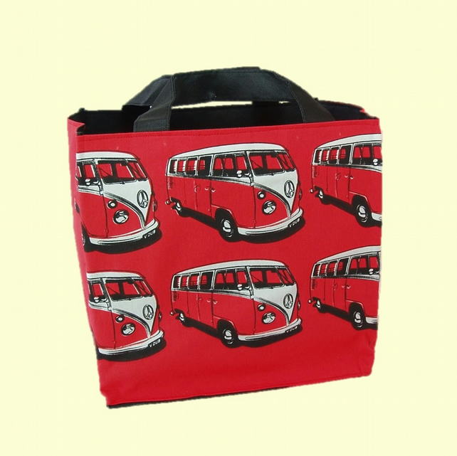 SALE Beach bag campervan print on red cotton. Lunch bag, book bag, shopping tote