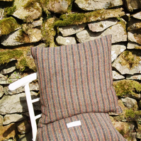 Harris Tweed cushion cover grey stripes 16 inch square pillow gifts for men