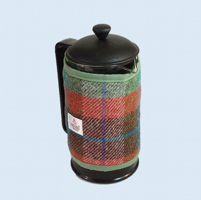 Harris Tweed cafetiere cover, coffee cosy, brick red turquoise green fabric