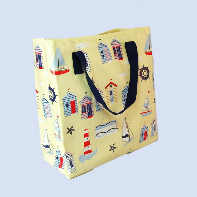 SALE Beach huts beach bag shopping tote lunch bag.