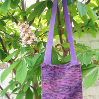 Knitted shoulderbag purple hand-dyed British wool bag