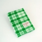 Harris tweed covered A5 journal notebook diary. Green and white. Gift for men