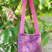 Pink shoulderbag knitted hand-dyed British wool bag