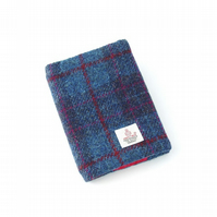 Harris tweed A6 book cover blue tartan diary notebook journal